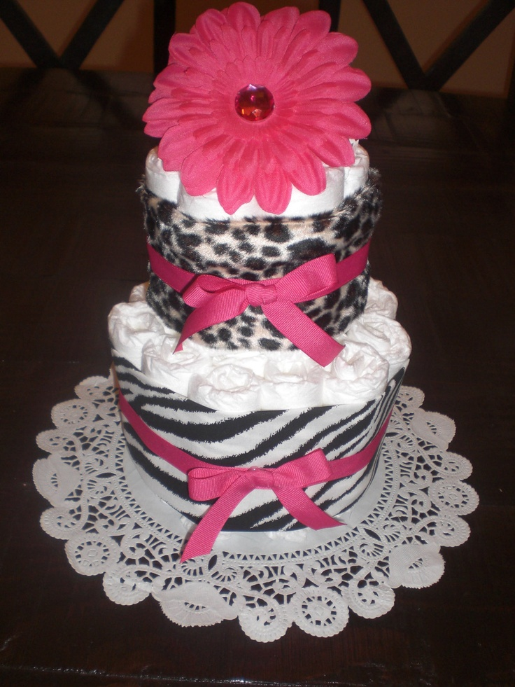 babyshower cakes hot pink and zebra print | Zebra and Leopard Hot Pink Baby Shower Centerpieces DiaperCake also ...