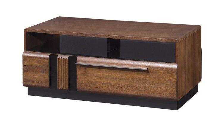 PORTI 41 STOLIK KAWOWY dębowy z czarnym szkłem i delikatną szufladą