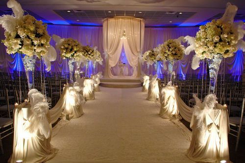 All White Indoor Wedding Ceremony Site: All White Wedding Ceremony