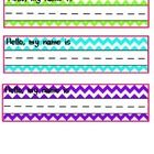 "Brightly colored chevron name plates will be a perfect addition to your student desks.   The top of the name plate says, ""Hello, my name is...."" to..."