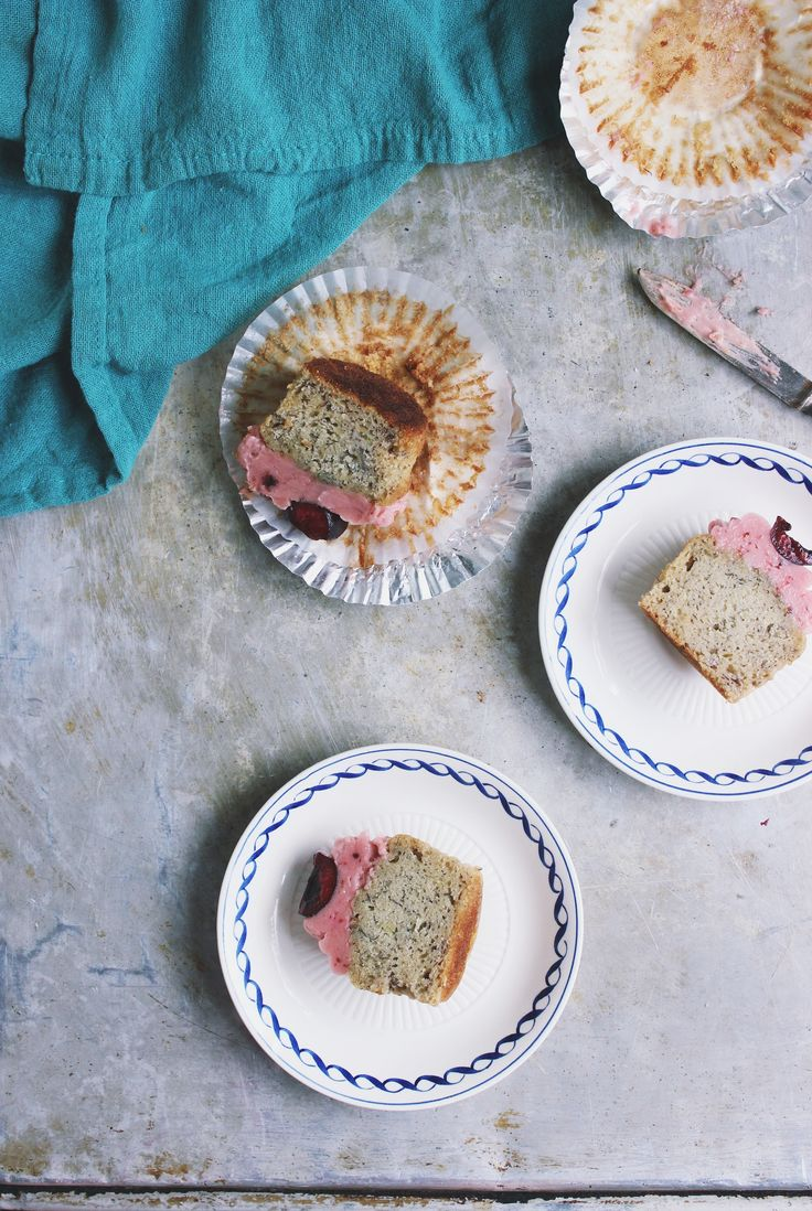 Banana Cupcakes with Black Tea Cherry Frosting | With Food + Love