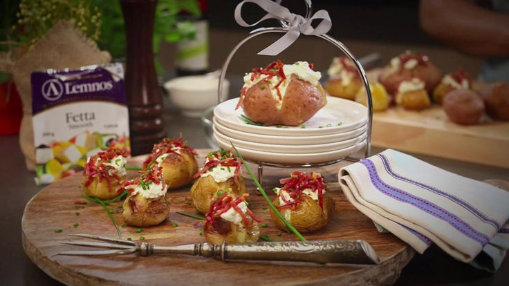Whipped Fetta Bacon & Sour Cream Chats.  One delicious filling that can be used for an everyday family meal in jacket potatoes or as an elegant easy canapés when used to fill baby chat potatoes. #Lemnos #recipe #potato #appetizer