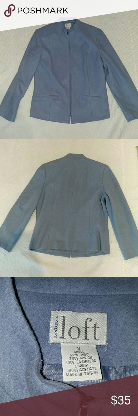 Anne Taylor Loft Light Blue Wool Blend Work Jacket Anne Taylor Loft Great for a Professional Light Blue Size Six Made of     Shell- 65% wool, 25% nylon, 10% cashmere     Lining 100% acetate Measurements in inches    Length 26    Bust 37    Waist 34    Arm 23 LOFT Jackets & Coats Blazers