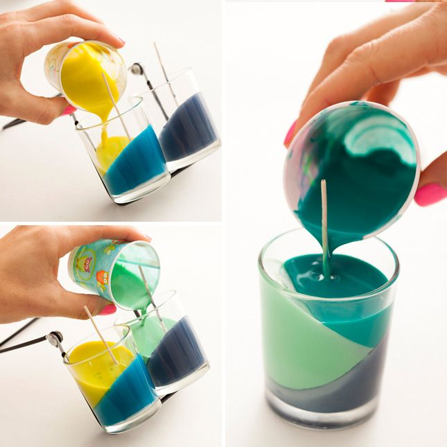 Use crayons to make colorblock candles