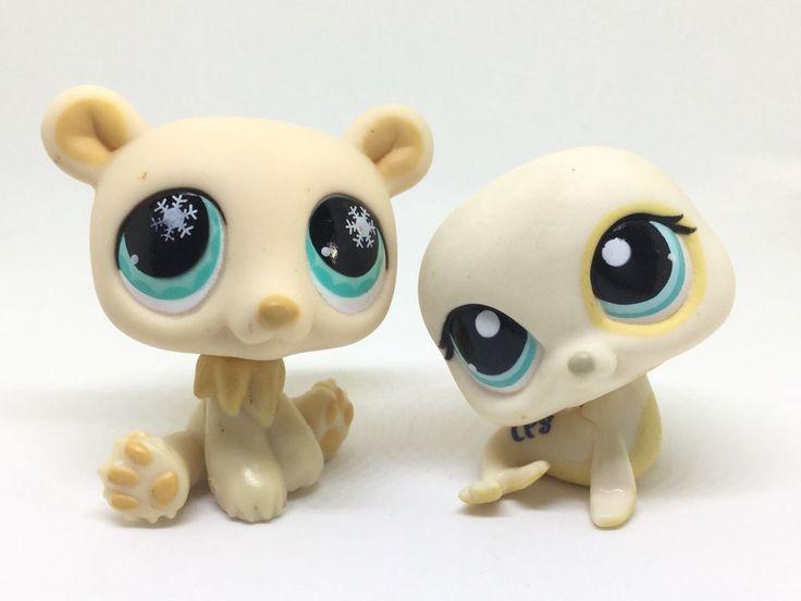 LITTLEST PET SHOP MIXED LOT ~ LPS CREAM COLORED POLAR BEAR & SEA LION BLUE EYES #Hasbro