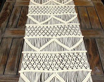 Camino de mesa tejida a mano Macrame camino de mesa de boda | Etsy