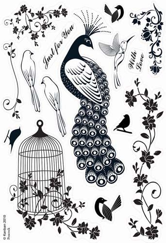 Kanban Crafts - Birds of Paradise Collection - Clear Acrylic Stamps - Peacock at Scrapbook.com $11.24