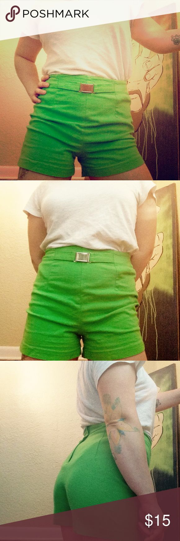 Vintage 90's Lime Shorts Vintage HighWaist 90's Route66 Lime Green Shorts Route 66 Shorts