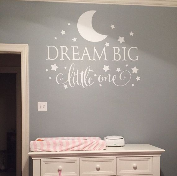 Dream Big little one nursery wall decor Size shown 38 tall x 56 wide Sizes available: - 14.5 tall x 22 wide - 21 tall x 32 wide - 25 tall x 38 wide
