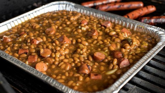 Grilled Franks and Beans
