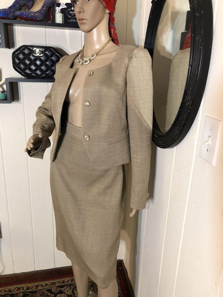 LK BENNETT Womens Tan Pencil Skirt Suit Cotton Linen Size 6/8 Snap Jacket NWOT #LKBENNETT #SkirtSuit