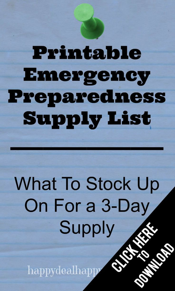 FREE Printable Emergency Preparedness Supply List – What To Stock Up On For a 3-Day Supply printable checklist.  #emergencyprep #preppers #freeprintable #freeprintablechecklist #emergencychecklist #emergency #emergencypreparednesssupplylist