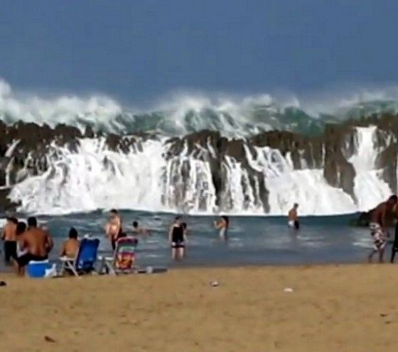 Massive waves at Playa Puerto Nuevo in Vega Baja, Puerto Rico