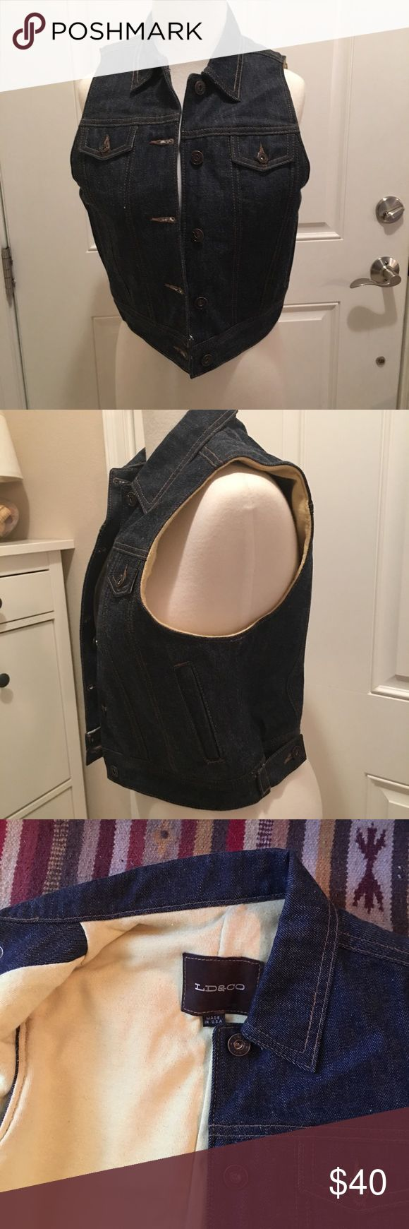 NWOT LD&Co Kevlar Lined Denim Vest This vest is brand-new never been worn. It's Kevlar lined and design for motorcyclist. Has two adjustable buttons on the bottom to make sure it has a perfect fit. Let me know if you have any questions. LD&Co Jackets & Coats Vests