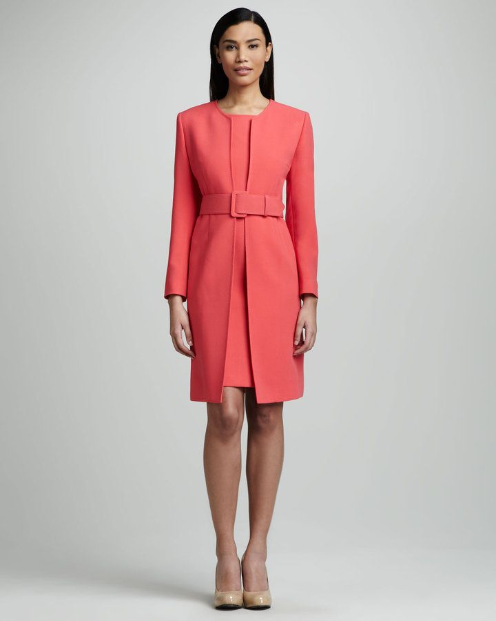 Dresses with jackets make for smart office attire by combining the tailored edge of a jacket with the crisp, clean lines of a chic dress. Certain styles shine more than others in an office setting. Opt for well-fitted frocks, such as sheath dresses, paired with jackets or blazers.