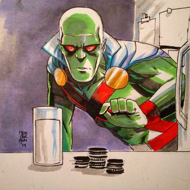 Martian Manhunter going for the Oreos and milk. Art by Mike Henderson