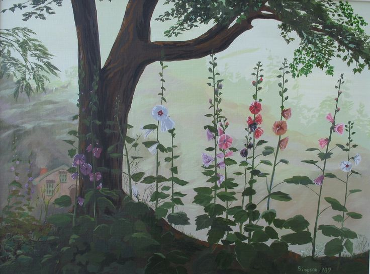 Once in the Heart of the Forest Deep - Hollyhocks protect the cottage in the woods