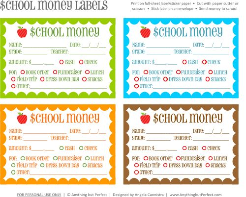 Free printable: School money labels. Thinking this would be a good way for me to know what parents are sending money for when I start teaching.