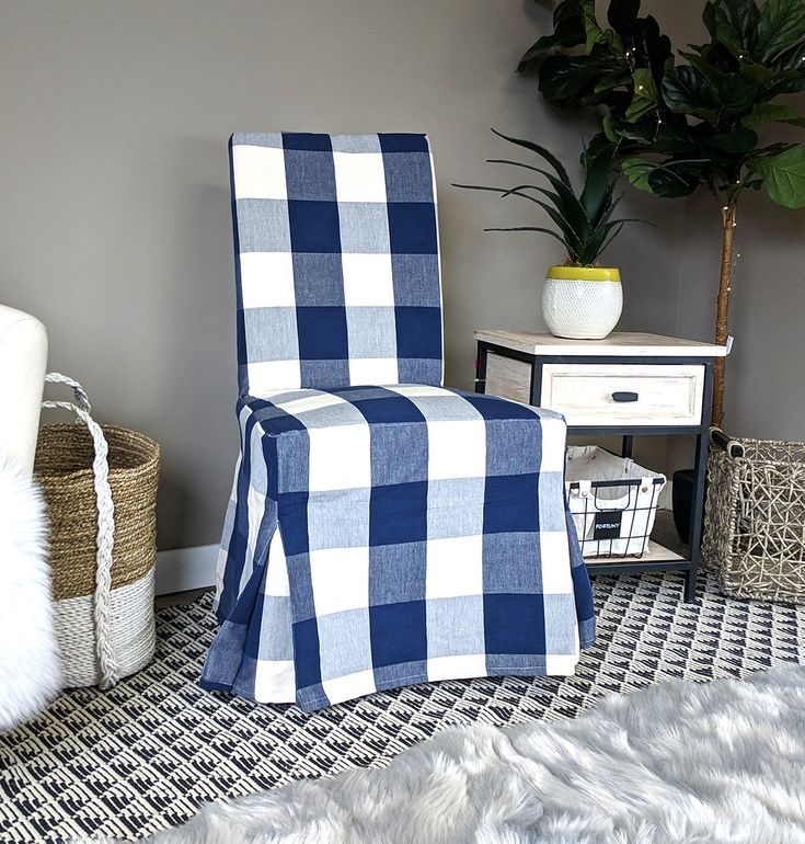 IKEA Dining Chair Cover, Buffalo Check Navy Blue