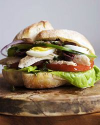 Chicken Pan Bagnat // More Tasty Chicken Sandwiches: http://www.foodandwine.com/slideshows/chicken-sandwiches #foodandwine