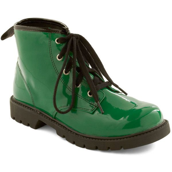 Love Forever-green Boots ($60) ❤ liked on Polyvore featuring shoes, boots, ankle booties, ankle boots, faux leather booties, low heel ankle boots, green ankle boots, low heel ankle booties and low heel booties