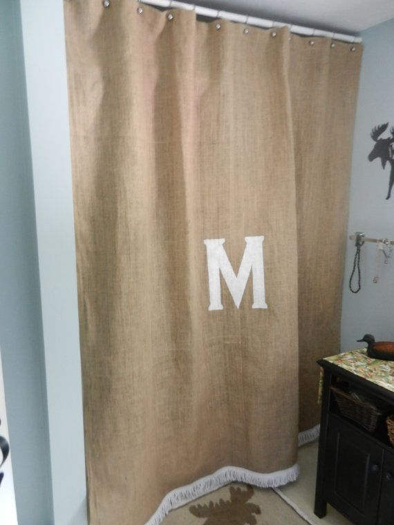 Burlap shower curtain with satin boullion fringe by CraftyAmour, $55.00