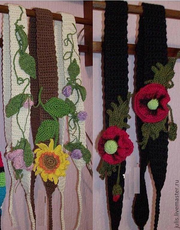 """Купить Пояс вязаный крючком """"Цветы"""" - пояс вязаный крючком, браслет, черный, цветочный"""