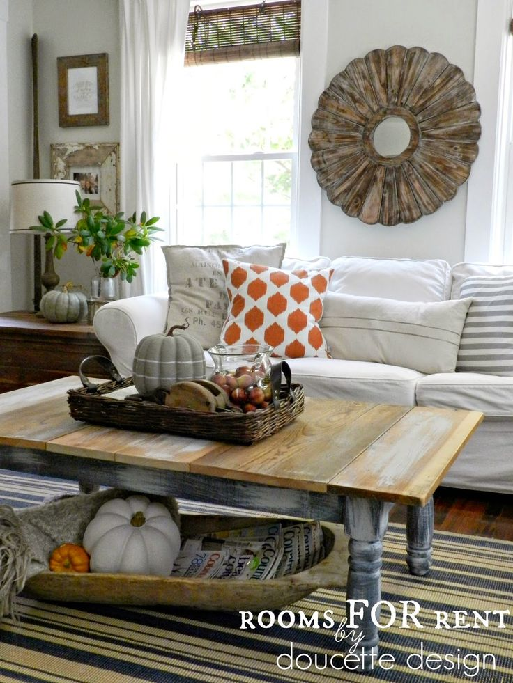 Fall Home Tour {2014} rustic round wood mirror and bold orange pillow from @homegoods !!! #homegoodshappy for fall :)