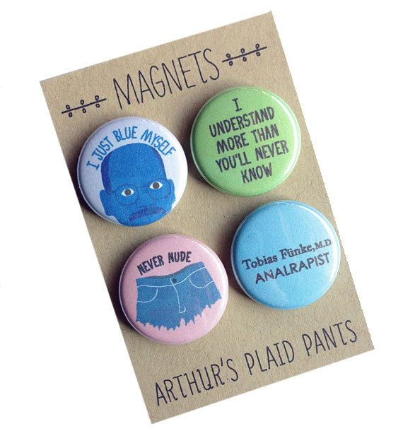 Arrested development Tobias Funke badges by ArthursPlaidPants, $8.00