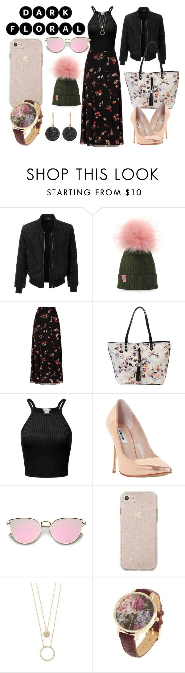 """Dark Floral"" by cheybear96 on Polyvore featuring LE3NO, RED Valentino, Jessica Simpson, Dune, Kate Spade and Astley Clarke"