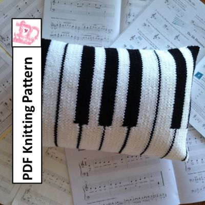 Piano Pillow PDF Knitting Pattern – 12×20 keyboard cushion cover by:-LadyshipDesigns