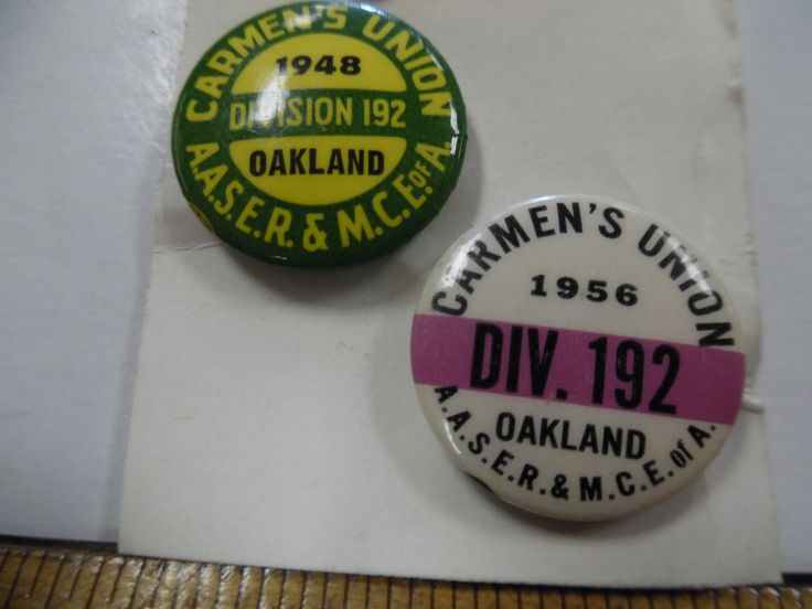 Vintage Union pins, Labor Union pins, Carmens workers union, 1948 and 1956 union pinback by bullseyecollectibles on Etsy