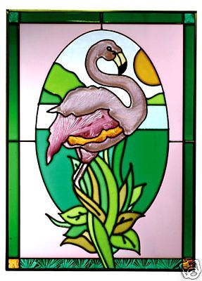 14x20 Stained Art Glass FLAMINGO Tropical Suncatcher Panel