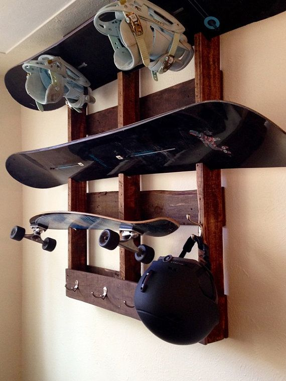 Snowboard & Equipment Shelf/Hanger by InPlaneSight on Etsy