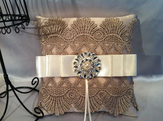 Vintage Inspired Wedding Ring Pillow / Ivory/Beige Ring Bearer Pillow/ Wedding Pillow via Etsy