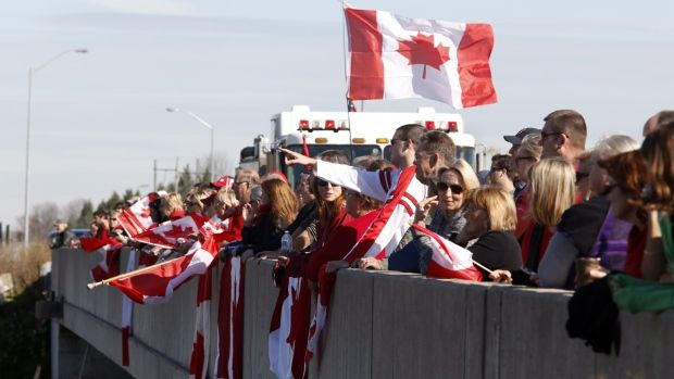 Aerial view of the highway procession in Ottawa, honouring Cpl. Nathan Cirillo.