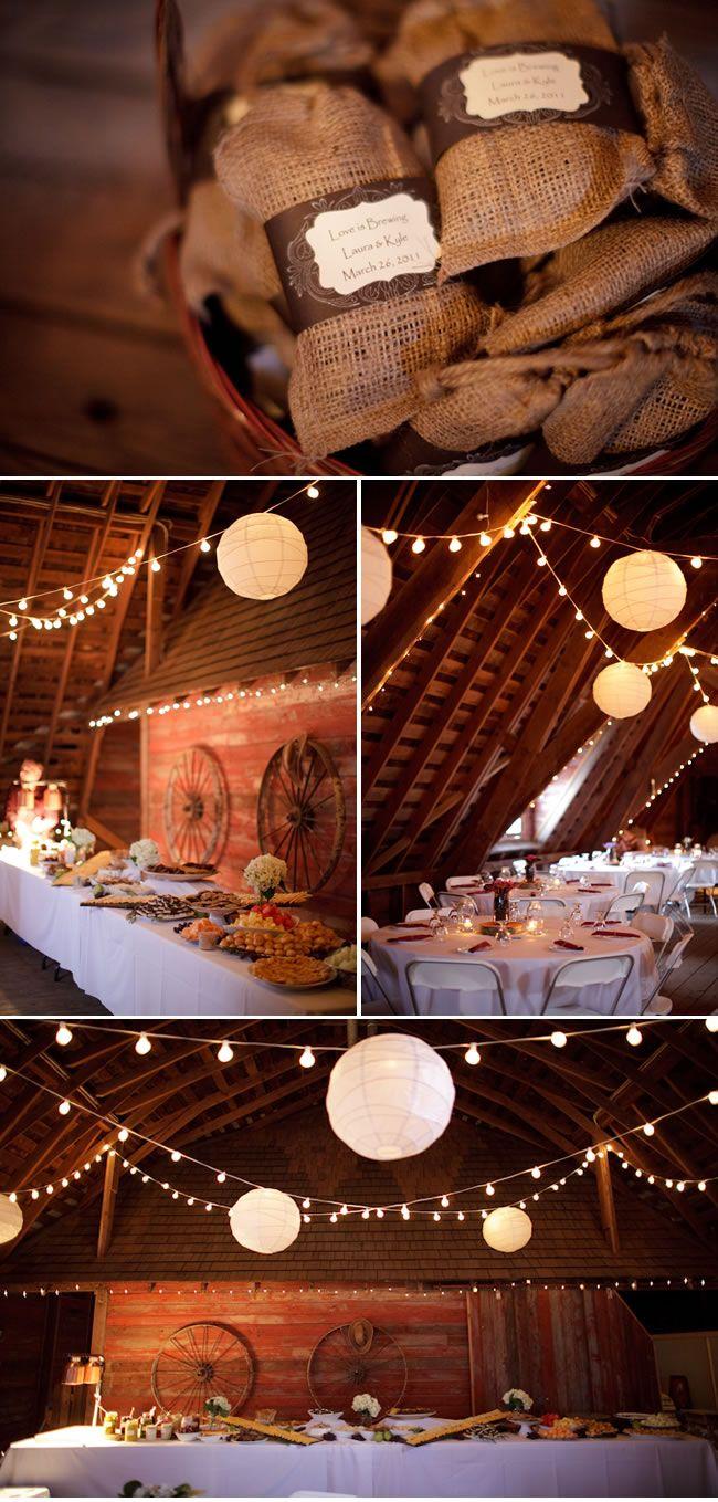 Rustic Wedding: Wedding Favors, Paper Lanterns, Sewing Burlap, Parties Favors, String Lights, Burlap Bags, Guest Favors, Big Paper, Bulbs String