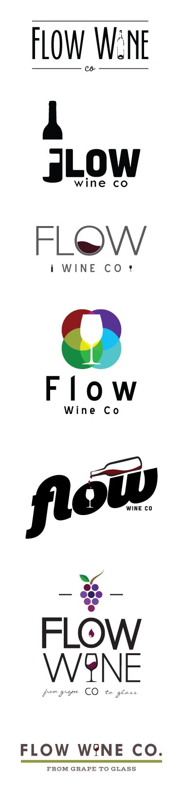 Logo Design Mock ups for Flow Wine Co - www.flowwineco.com