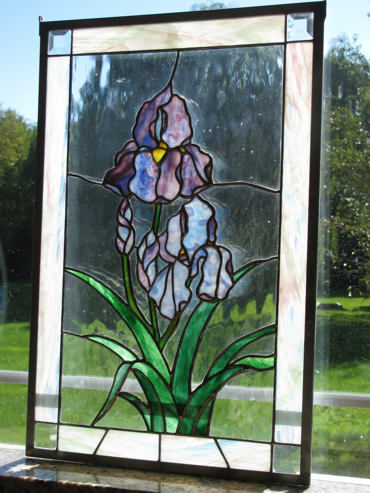 Purple Iris Flower Stained Glass Window Purple Stained