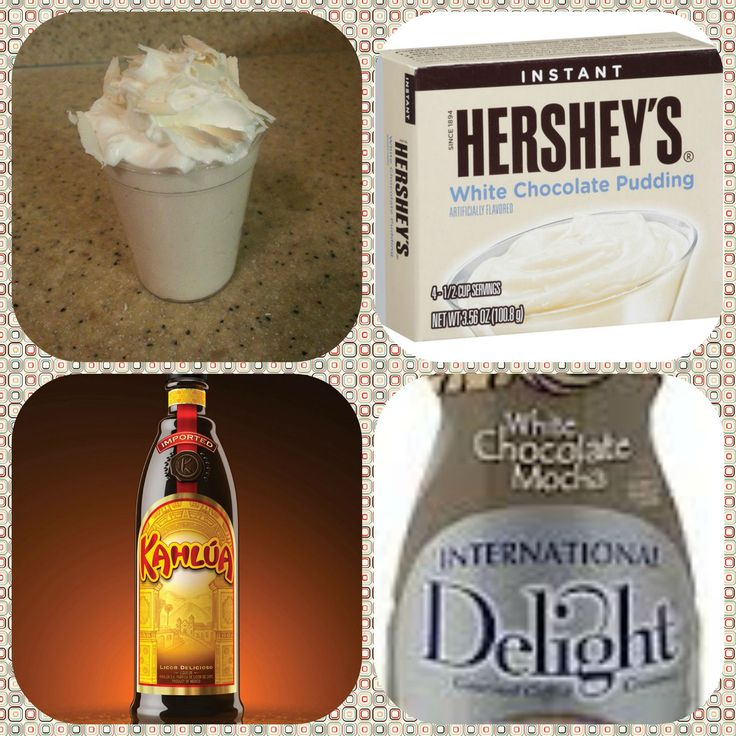 White Chocolate Mocha Pudding Shots  1 small Pkg.white chocolate instant pudding 3/4 Cup Milk or white chocolate mocha coffee creamer  3/4 Cup Kahlúa 8oz tub Cool Whip Directions 1. Whisk together the milk or coffee creamer, liquor, and instant pudding mix in a bowl until combined. 2. Add cool whip a little at a time with whisk. 3 Spoon the pudding mixture into shot glasses, disposable shot cups or 1 or 2 ounce cups with lids. Place in freezer for at least 2 hour