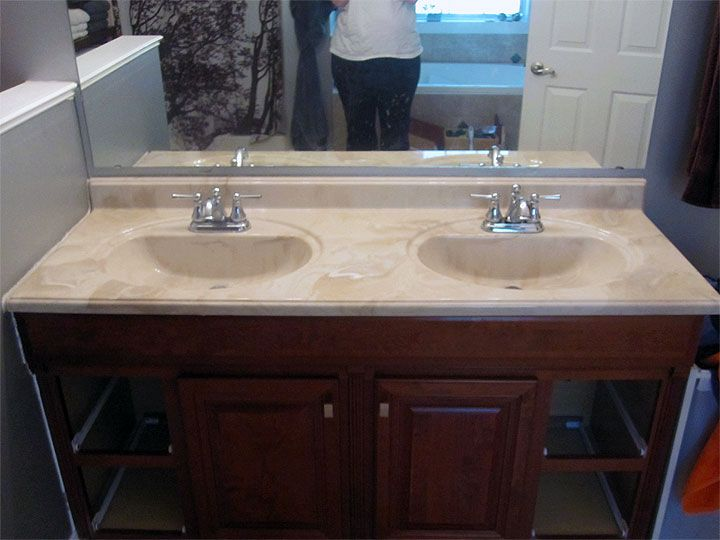 Paint Cultured Marble Vanity With Rustoleum Tub And Tile House Redo Ideas 1 In 2018 Pinterest Bathroom Tops