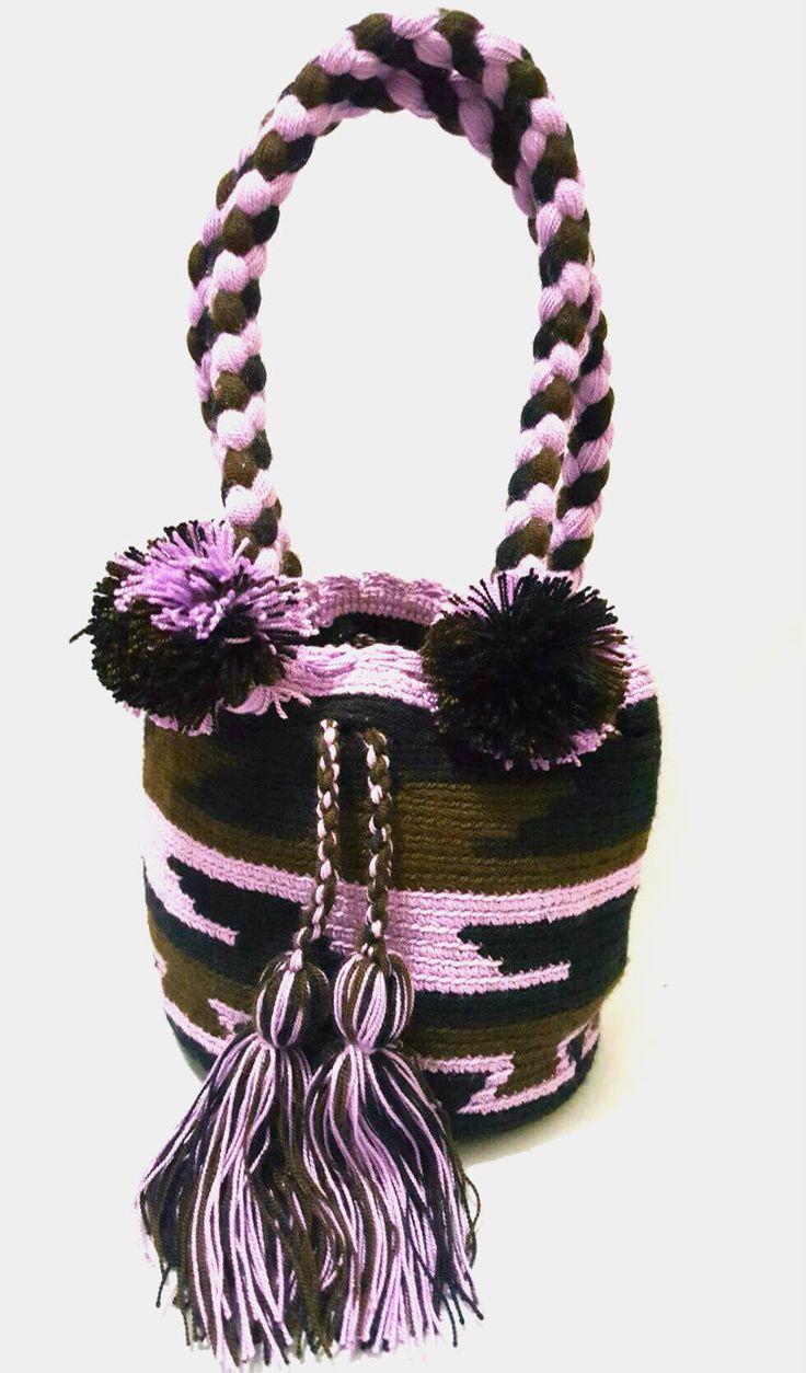 Wayuu Bag-Pattern Pom Pom Purple - Alynshop