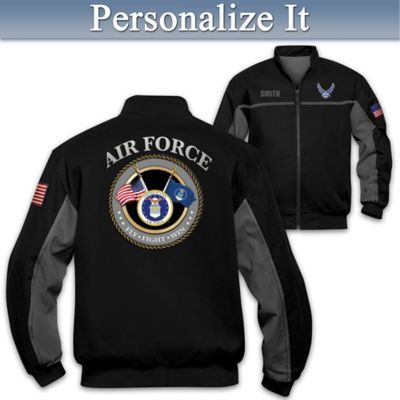 Woven twill men's jacket honors Air Force with embroidered name, patch of Air Force symbol and phrases. Features front pockets, knit cuffs and more.