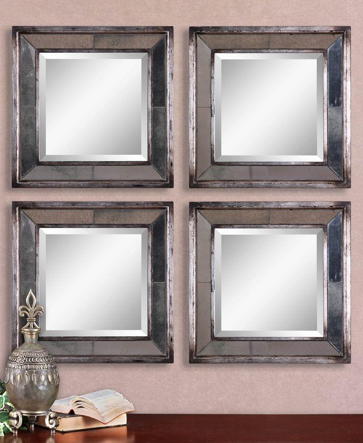 Uttermost Davion Squares Silver Mirror Set 2 18sq
