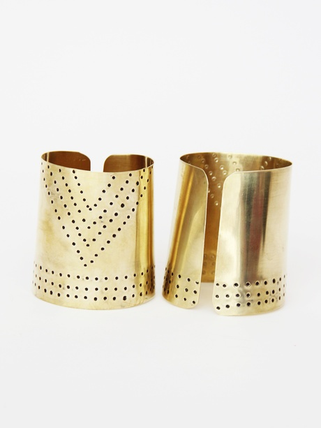 Kora Chevron Brass Cuffs « Pour Porter - Not a jewelry person, but these seem pretty cool--or Wonder Woman-y.