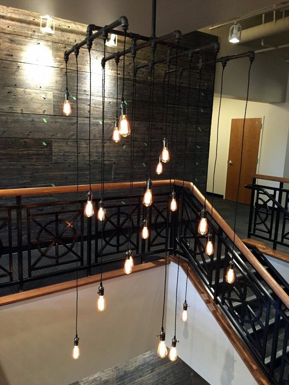 16 – 20 Light Square Industrial Steel Pipe Chandelier