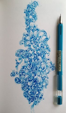 By Gentian Osman. Done with a Muji Gel Pen in a Stillman Birn Epsilon Sketchbook. I need to look into these gel pens.