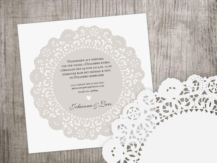 Inbjudningskort, bröllop, spets, tårtpapper