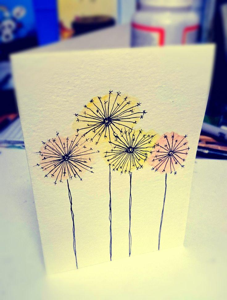 Dandelion watercolour handmade card