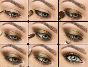 Olive green eyeshadow step by step application tutorial - Maquillage simple mais beau ...